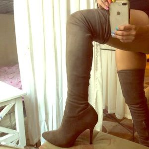 Shoes - Taupe Nude Beige Over the Knee Faux Suede Boots